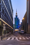 Center of Warsaw at night. City center of Warsaw at night, Poland stock photography