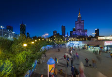 Center of Warsaw during the night Royalty Free Stock Photography