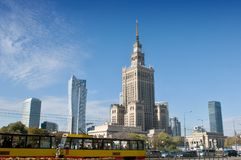 Center of Warsaw - Palace of culture and science Stock Images