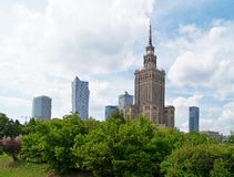 Center of Warsaw - Palace of culture and science Stock Photos
