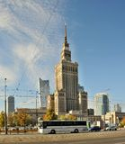 Center of Warsaw - Palace of culture and science Royalty Free Stock Photo