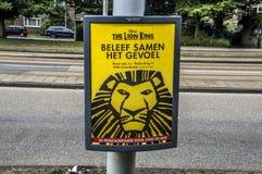Centercom Lion King Musical Billboard At Amsterdão o 2018 holandês imagens de stock