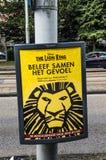 Centercom Lion King Musical Billboard At Amsterdão o 2018 holandês fotos de stock royalty free