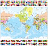 Centered America Political World Map and All World Country Flags Stock Image