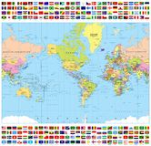 Centered America Political World Map and All World Flags Royalty Free Stock Images