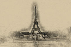 Centered Eiffel Tower in charcoal on brown paper Royalty Free Stock Image