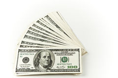 Centered stack of hundred dollar bills. Stack of hundred dollar bills centered on white background room for text left and right side Stock Images