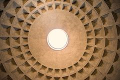 Centered view of the Pantheon dome hole /oculus/, Rome, Italy. Royalty Free Stock Photo