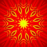 Centered yellow star pattern on deep red. Abstract geometric seamless background. Bright yellow star pattern on deep red, shimmering and conspicuous Stock Photography