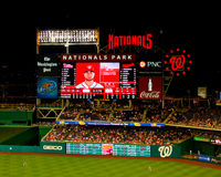 Centerfield scoreboard Washington Nationals Park. Royalty Free Stock Photos