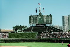 2001 Centerfield Scoreboard at Wrigley Field. Image taken from color negative stock photography