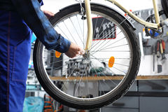 Centering wheels on a bike. Stock Images