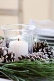 Centerpiece конуса сосны для украшения таблицы рождества Стоковые Фото