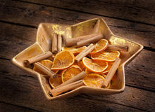 Centerpiece Christmas with orange slices Royalty Free Stock Image