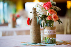 Centerpieces таблицы приема по случаю бракосочетания Стоковые Изображения