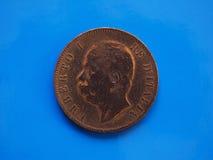 10 centesimi coniano, regno dell'Italia sopra il blu Fotografia Stock Libera da Diritti