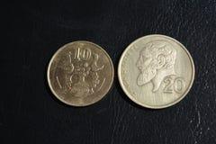 Centesimi del Cipro - monete di varie denominazioni Fotografia Stock Libera da Diritti