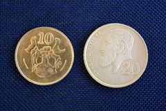 Centesimi del Cipro - monete di varie denominazioni Immagini Stock Libere da Diritti