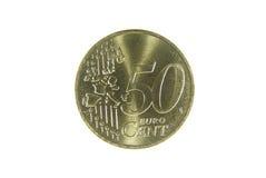 Centesimo dell'euro cinquanta Fotografia Stock Libera da Diritti