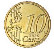 Centesimo dell'euro dieci Fotografia Stock Libera da Diritti