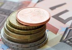 Centesimo dell'euro due Fotografie Stock Libere da Diritti