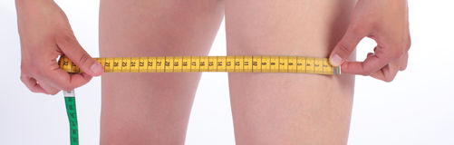Centimeter diet healtcare. Over white Royalty Free Stock Image