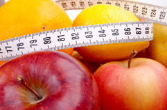 Centimeter and fruits Royalty Free Stock Photo