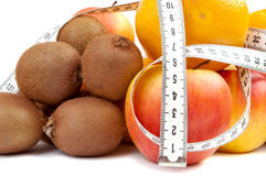 Centimeter and fruits Stock Photo