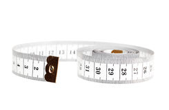 Centimeter. Measuring tape. Measuring tape isolated on white Stock Photo
