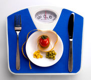 Centimeter and scale for dieting concept Stock Photo