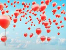 Centinaia dei palloni rossi di volo Immagine Stock Libera da Diritti
