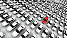 Centinaia di automobili, un colore rosso! Immagini Stock Libere da Diritti