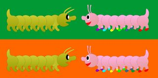 Centipede. Green and pink centipede. Pink millipede has colored shoes. The background is orange and green Stock Images