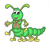Centipede. Collor illustration of green centipede Stock Image