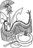 Centipede, czarny i biały wersi ilustracja dla dzieci Zdjęcie Stock