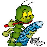 Centipede and tooth paste. Brushing of the teeth as colored  illustration - vector Stock Images