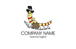 Centipede travel logo. A cartoon illustration of a centipede or millipede with a top hat carrying a travel bag. Good for travel and tourism agencies Stock Image