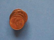 1 centmuntstuk, Europese Unie, met exemplaarruimte Stock Afbeeldingen