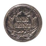 1 centmynt, Förenta staterna som isoleras över vit Royaltyfri Fotografi
