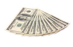 Cento banconote del dollaro isolate Fotografia Stock Libera da Diritti