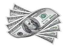 Cento banconote del dollaro su bianco immagini stock libere da diritti