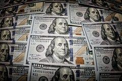 Cento banconote dell'americano del dollaro Fotografie Stock