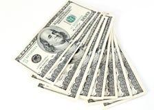 Cento banconote in dollari Fotografie Stock