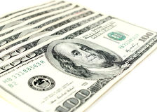 Cento banconote in dollari Fotografie Stock Libere da Diritti