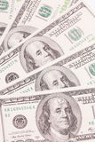 Cento banconote in dollari come fondo Mucchio dei soldi, Fotografia Stock