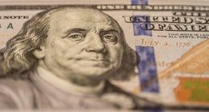 Cento banconote in dollari, macrofotografia Immagini Stock Libere da Diritti