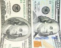 Cento banconote in dollari per fondo Vecchio e nuovo primo piano delle banconote Fotografia Stock Libera da Diritti