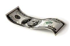 Cento banconote in dollari si compongono su un fondo bianco Isolato Immagini Stock