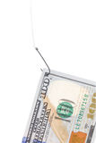 Cento banconote in dollari su un gancio Fotografia Stock