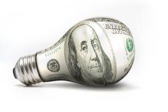 Cento blub leggeri del dollaro Fotografie Stock Libere da Diritti